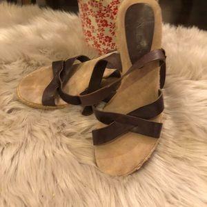 Aldo brown leather espadrille sandals